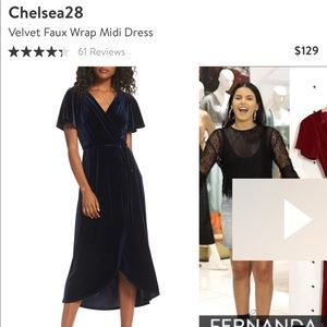 EUC- Chelsea28 Velvet Wrap Dress- Large